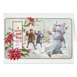 Father Time Pelted with Snowballs Greeting Card