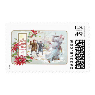 Father Time Pelted with Snowballs Postage Stamps