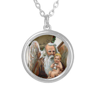 father time round pendant necklace