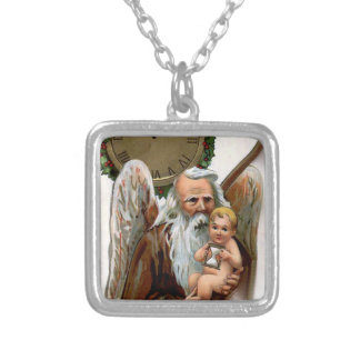 father time square pendant necklace