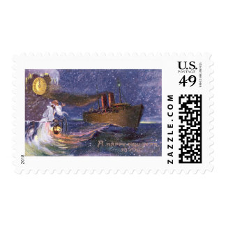 Father Time & Steamship Vintage New Year Postage Stamp