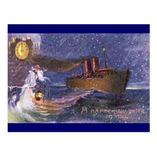 Father Time & Steamship Vintage New Year Postcard