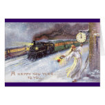 Father Time & Train Vintage New Year Card