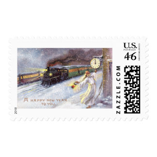 Father Time & Train Vintage New Year Postage Stamps
