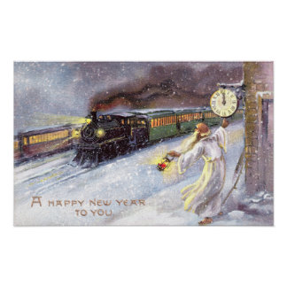Father Time & Train Vintage New Year Posters