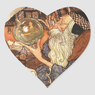 Father Time Vintage New Year Heart Sticker