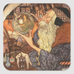Father Time Vintage New Year Square Sticker