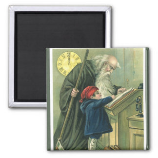 Father Time Wishing You a Happy New Year 2 Inch Square Magnet