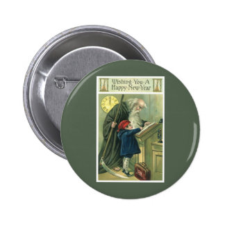Father Time Wishing You a Happy New Year Button