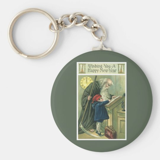 Father Time Wishing You a Happy New Year Keychain