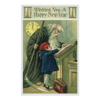 Father Time Wishing You a Happy New Year Poster