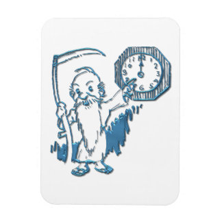Father Time with Scythe and Clock Magnet