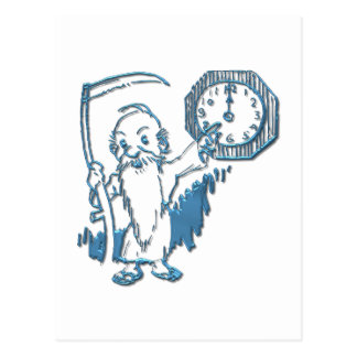 Father Time with Scythe and Clock Postcard