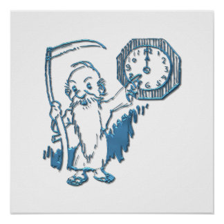 Father Time with Scythe and Clock Poster