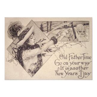 Father Time Woman Scythe Holly Card