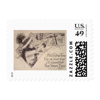 Father Time Woman Scythe Holly Postage