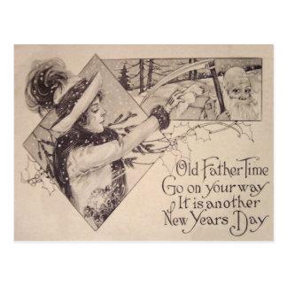 Father Time Woman Scythe Holly Postcard