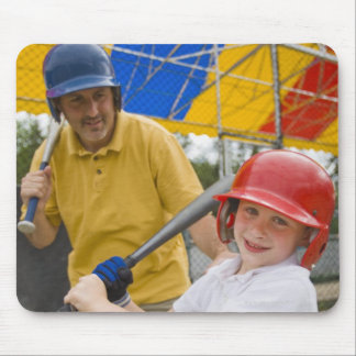 Father with daughter at batting cage mouse pads
