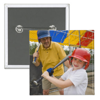 Father with daughter at batting cage pinback button