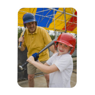 Father with daughter at batting cage magnet