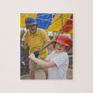 Father with daughter at batting cage jigsaw puzzles