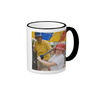 Father with daughter at batting cage ringer mug