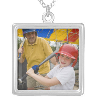Father with daughter at batting cage square pendant necklace