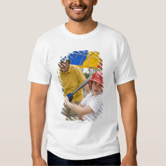 Father with daughter at batting cage t shirt