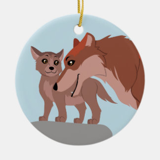 Father Wolf and Pup Ceramic Ornament