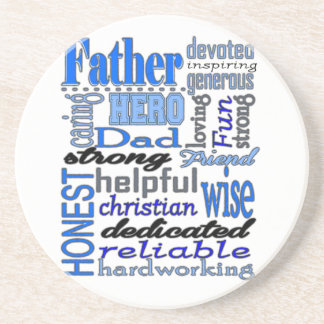 Father Words Day Dad Daddy Papa Pawpaw Beverage Coaster