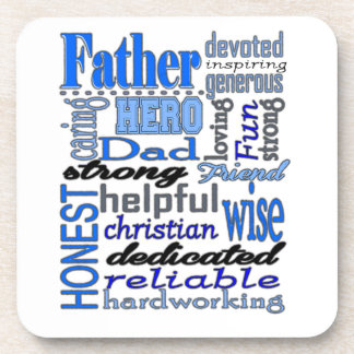 Father Words Day Dad Daddy Papa Pawpaw Drink Coaster
