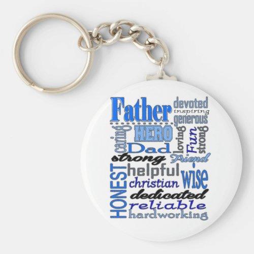 Father Words Day Dad Daddy Papa Pawpaw Keychain