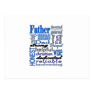 Father Words Day Dad Daddy Papa Pawpaw Postcard
