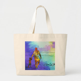 Fatherhood By The Ocean Large Tote Bag