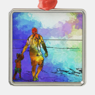Fatherhood By The Ocean Metal Ornament