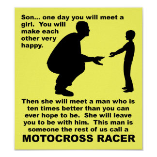 Fatherly Advice Motocross Dirt Bike Funny Sign Poster