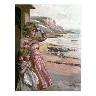 """""""Father's Boat"""" Vintage Book Illustration Postcard"""