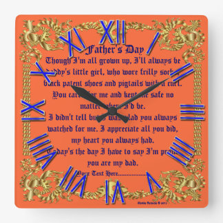 Fathers Day 1A By M.Valencia view about Design Square Wall Clock