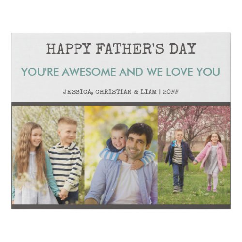 Fathers Day 3 Photo Collage Grey Blue Faux Canvas Print