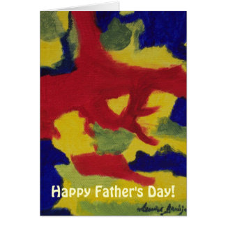 Father's Day Abstract Art Primary Colors Card