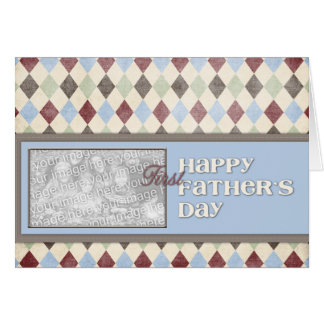 Fathers Day ADD YOUR PHOTO 1st First Argyle Card