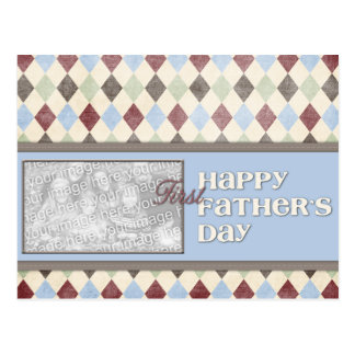 Fathers Day ADD YOUR PHOTO 1st First Argyle Postcard