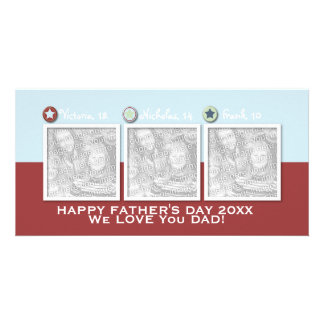 Fathers Day - ADD YOUR PHOTOS - 3 Stars Custom Photo Card