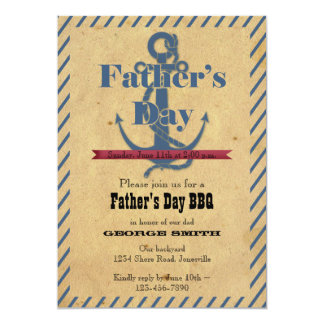 Father's Day Anchor BBQ Party Invitation