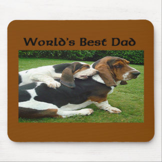 Father's Day Basset Hounds World's Best Dad Mouse Pad
