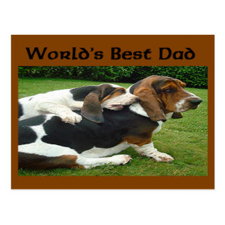 Father's Day Basset Hounds World's Best Dad Postcard