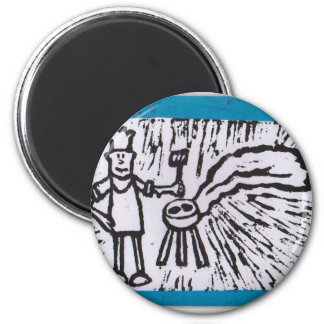 Father's Day BBQ 2 Inch Round Magnet