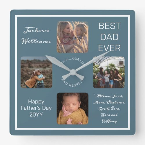 Fathers Day Best Dad Ever Blue Four Photo Square Wall Clock