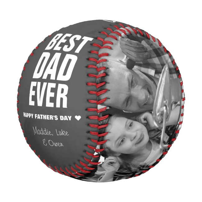 Father's Day Best Dad Ever Photos Personalized Baseball
