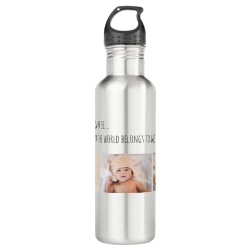 Father's Day Best Daddy 3 Photo Customize Stainless Steel Water Bottle